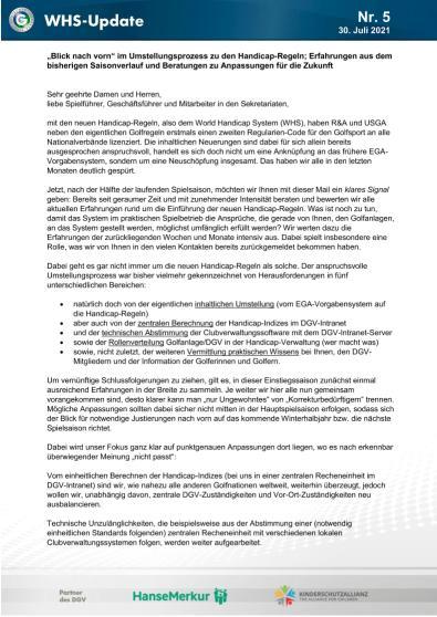 WHS-Update Nr. 5 vom 30. Juli 2021